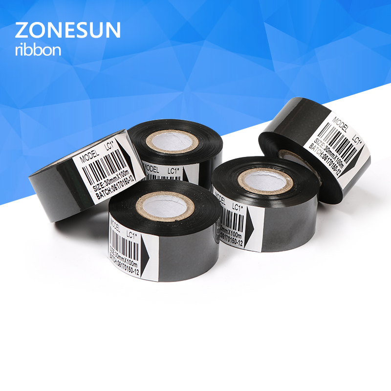 Thermal ribbon of ribbon printing machine, 30*100m, date code ribbon printer accessory, printing ribbon for plastic and paper 1pcs zy rm6 semi automatic shoe box coding machine pedal code printer code letter press card embosser printer