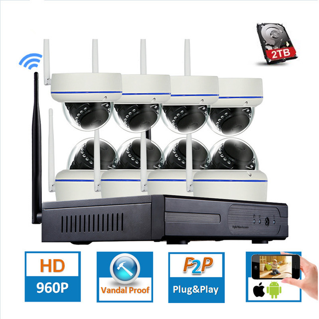 CCTV 8CH P2P 1080P WIFI H.265 NVR 30 IR Outdoor Vandal-Proof Dome Video Wireless IP Camera Surveillance Security System 2TB HDD