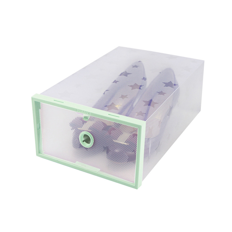 Transparent Stackable Plastic Shoe Storage Box Case for Men / Women 4 Colors
