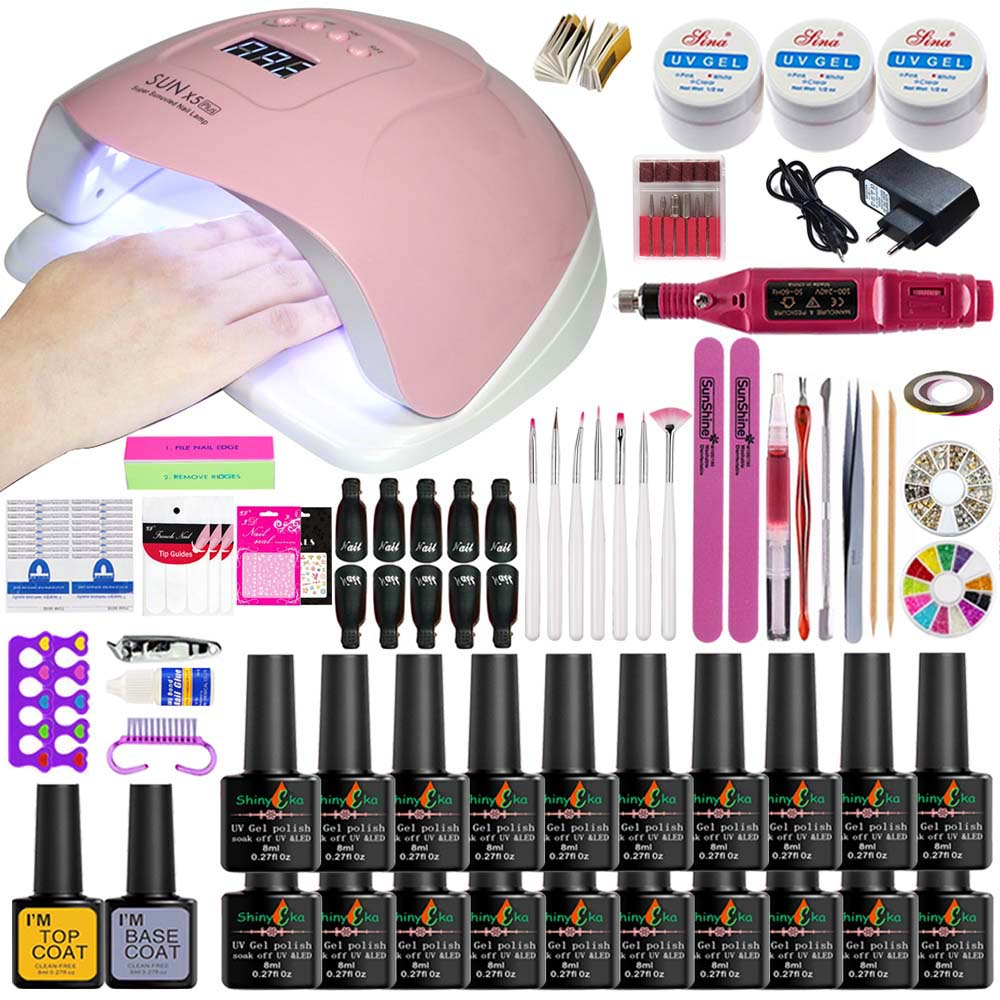 Nail Kit Dryer 54W/48W UV LED Lamp&UV Gel Varnish Polish Top Base Coat Manicure Tool Choose 20 Colors Nail Polish For Nail Sets