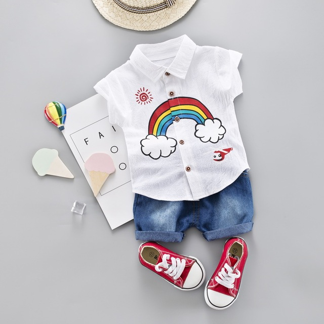 fabeaa5d3 Toddler Boy Shirt Clothes Summer Set Outfit 2019 New Cute Rainbow Children  Clothing Short Sleeve Shirt Boys Suit Baby Suit