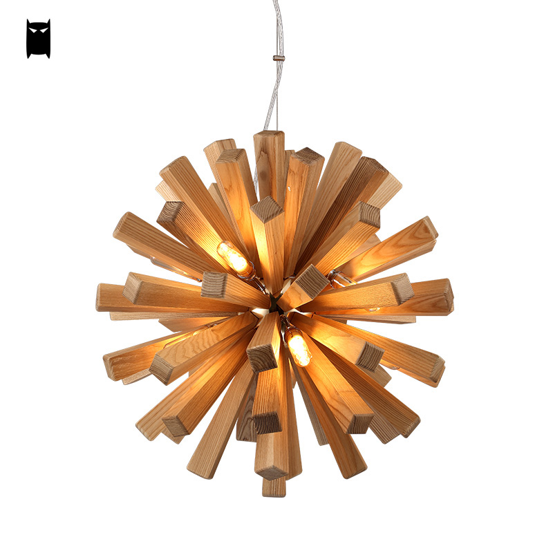 55 72cm oak wood edelweiss chandelier light fixture nordic. Black Bedroom Furniture Sets. Home Design Ideas