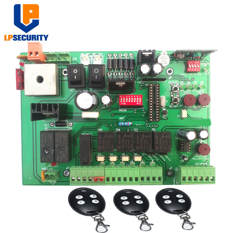 12V DC PCB Board/ Control Board Panel Of Automatic Sliding Gate Opener With 3 Remote Controls