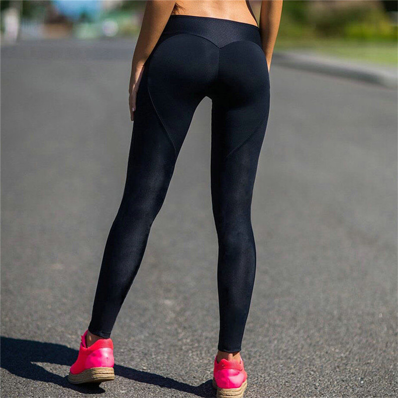 New Hot Sale Black Heart Leggings Women Fitness Workout Sporting Breathable Elastic Waist Gyming Exercise Clothing