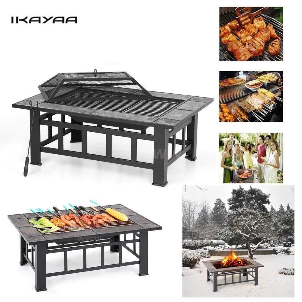 Outdoor Fireplace Brazier Ikayaa Patio Garden-Backyard Metal Poker Bbq-Grill Rectangular