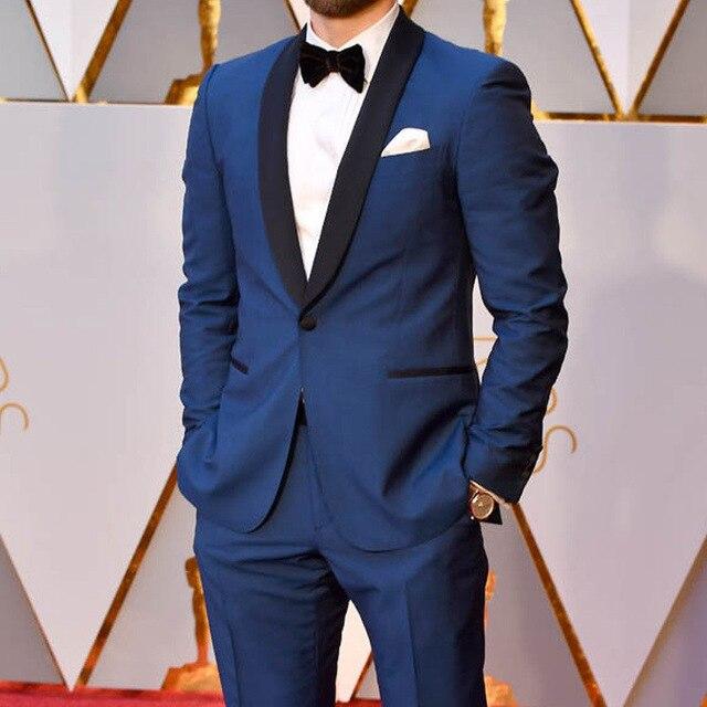 2019 Blue One Button Men's Slim Fit Shaw Lapel Suits Men Custom Made Party Dinner Suits Men 2 Pieces Smoking Suits Jacket