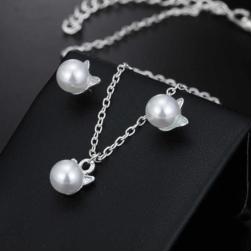Fashion Concise Jewelry Chain Silver Color Cat with Simular-Pearl Accessories Necklace and earrings set