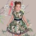 Menina Chinesa de Impressão Padrão de Vestido Da Menina Da Criança Verão Moda Vestido Da Menina Do Bebê Vestido De Aniversário Vestido de Festa para As Crianças Menina