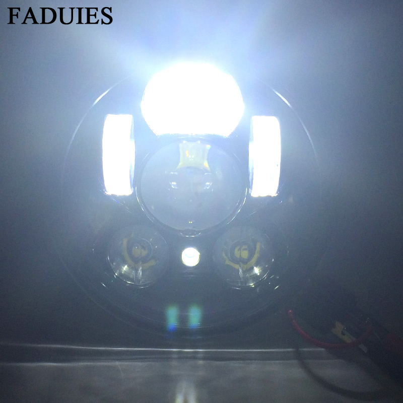 FADUIES Chrome 5.75 pouces LED phare 5 3/4 pouces LED phare pour Harley Iron 883 Dyna Street Bob FXDB Sportsters - 2