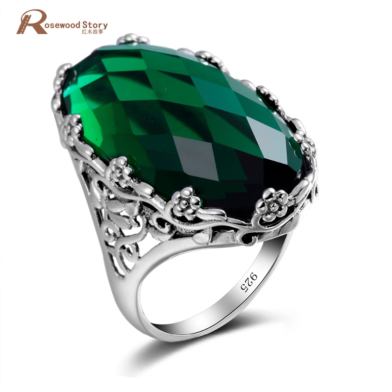 Russian Green Stone Crystal Ring Big Stone Flower Pattern Pure 925 Solid Sterling Silver Ring For Woman Classic Vintage Jewelry