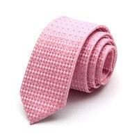2018 Nuovo Stile 6 cm Mens Cravatte Slim Gravata Classic Pink Plaid collo Cravatta per Gli Uomini di Nozze Plaid Skinny Cravatta Stretta con il Regalo Box