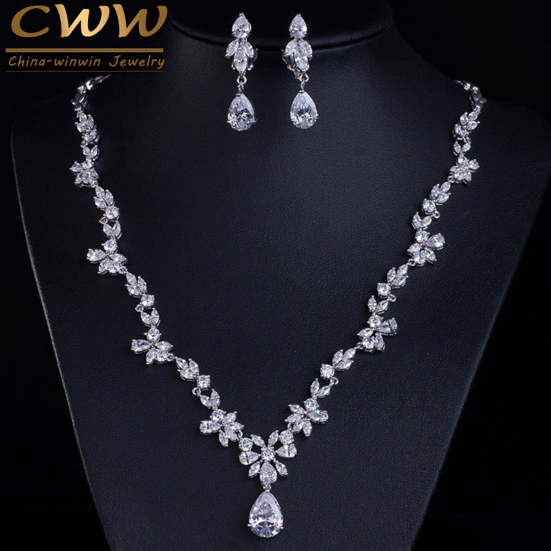 CWWZircons 2020 New Wedding Costume Accessories Cubic Zircon Crystal Bridal Earrings and Necklace Jewelry Sets for Brides T123set popset descriptionset key -