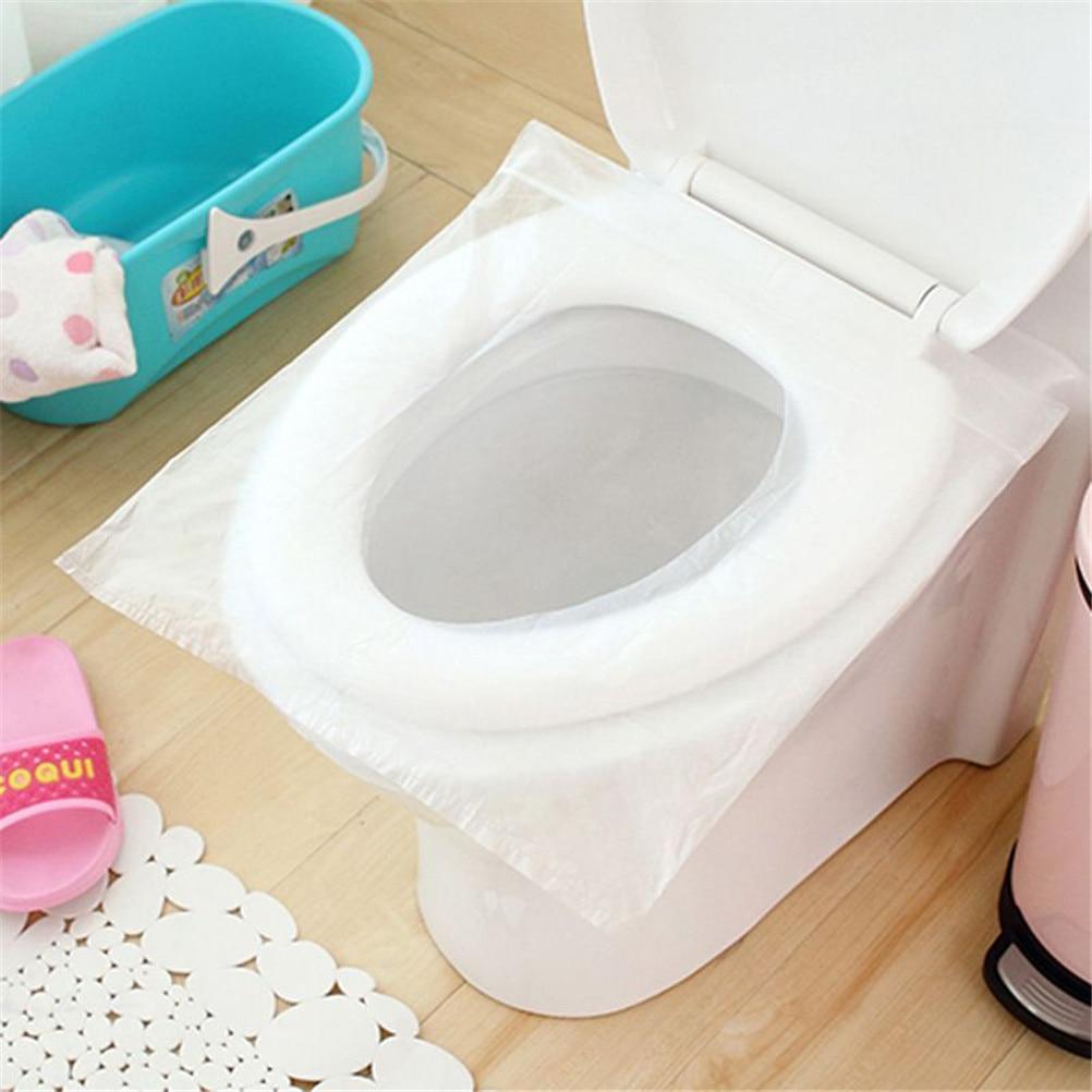 50Pcs Disposable Toilet Seat Plastic Clear Household Merchandises Bathroom Cover