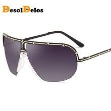 DesolDelos Semi-rimless Oversized Sunglasses Men Metal Frame Big Sun Glasses for Driving UV400 Brand Designer gafas de sol