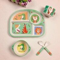 新 5 ピース/セット赤ちゃん給餌食器セット竹繊維子供食器漫画ベビー食器トレーニングボウルとカップフォークスプーン