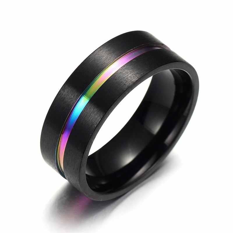 Hitam Titanium Stainless Steel Cincin Sederhana Pernikahan 8 Mm Warna-warni Pelangi Cincin Pasangan