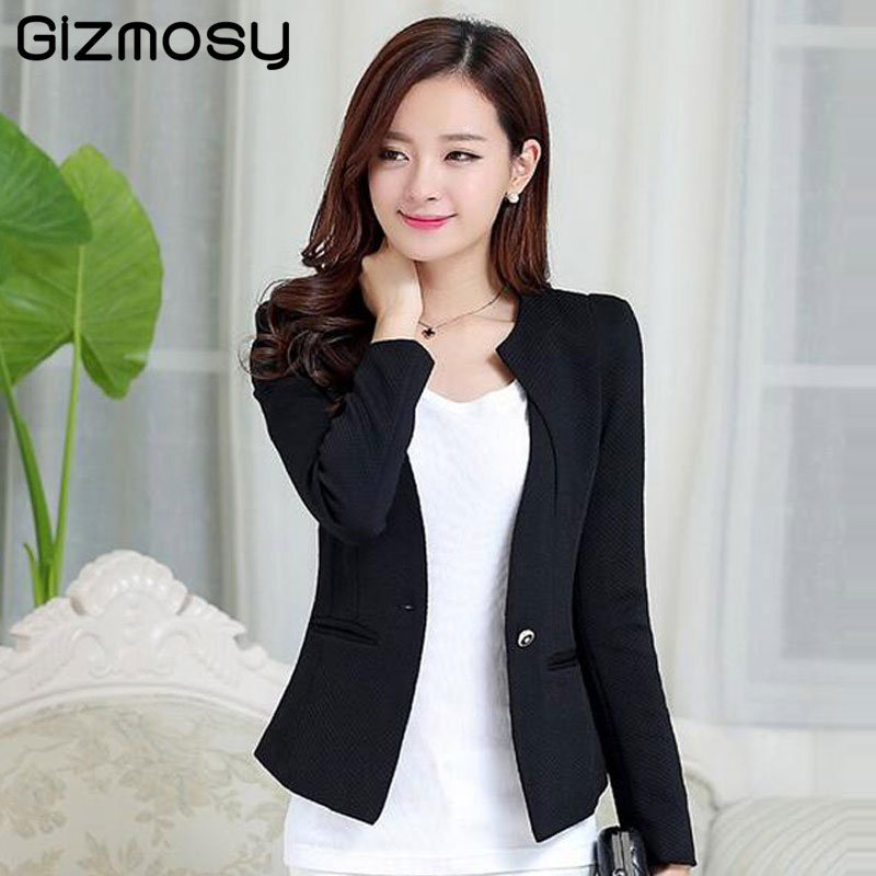 Gizmosy Spring Women Slim Blazer Coat 2018 Plus Size Casual Jacket Long Sleeve One Button Suit Lady Blazers Work Wear BN026(China)