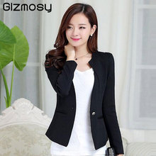 Gizmosy Spring Women Slim Blazer Coat 2018 Plus Size Casual Jacket Long Sleeve One Button Suit Lady Blazers Work Wear BN026