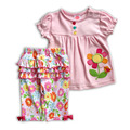 Summer Baby Clothes Set children Kids sets Fashion Baby Suit Cotton Girl Clothing Set body + pants girl's cartoon printing