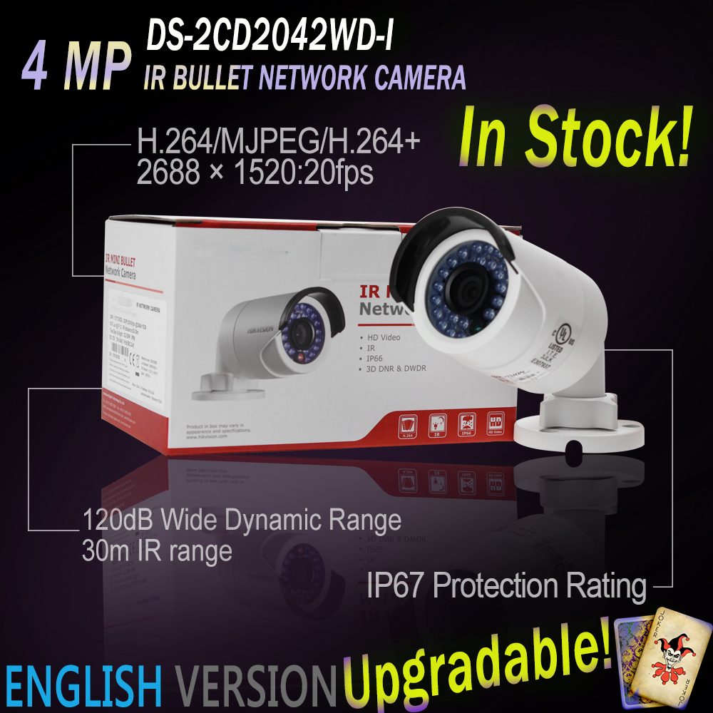 Hikvision In Stock Hikvision DS-2CD2042WD-I 4MP POE IR IP Bullet Network CCTV Camera 4mm Lens Upgradabe English Version