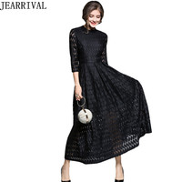 2017 New Fashion Autumn Black Lace Dress Elegant Women Hollow Out Vintage Ball Gown Evening Party