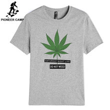 Pioneer Camp 2019 new 100% cotton saturday night live leaves pattern casual men t-shirt O-neck standard size DES901100(China)