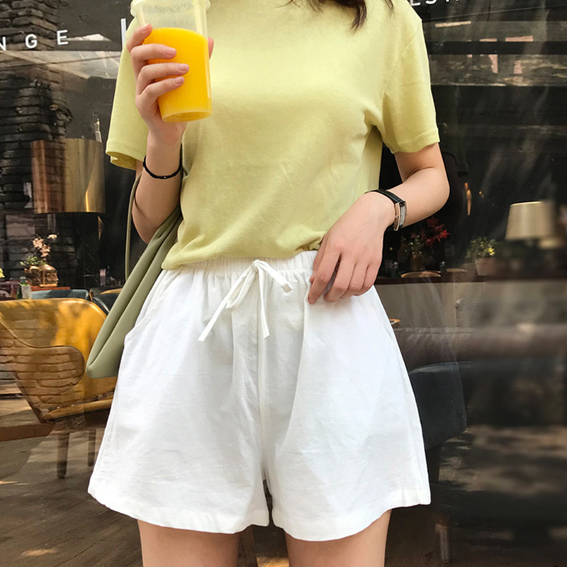 Women High Waist Loose Solid Color Shorts Casual For Summer Sport Running Beach Pantaloni Donna