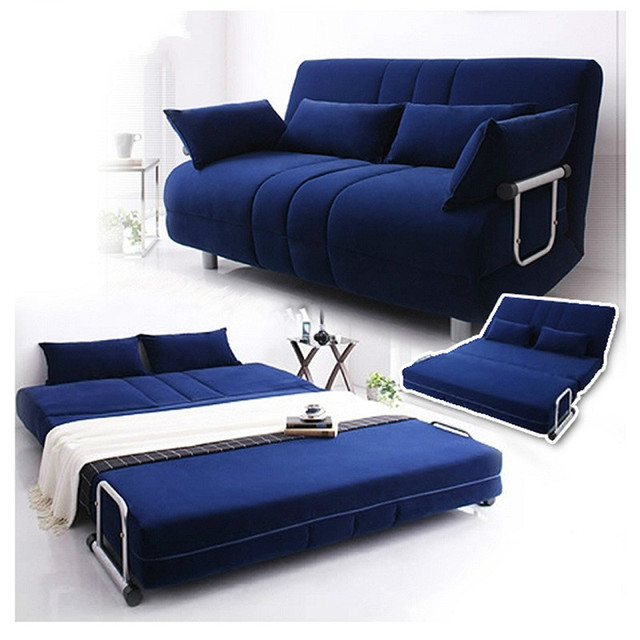 Louis Fashion Modern large-sized apartment folding sofa bed 1.5 meters 1.2  simple double fabric tatami Lounger