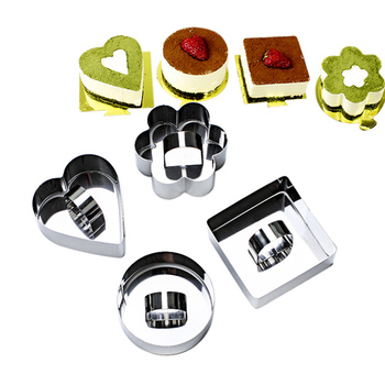 1PC Stainless Steel Mousse Cake Cutting Mold Circle Square Flower Heart 4Shapes Cupcake Cookie Dumpling wrapper Modelling Tools  circle