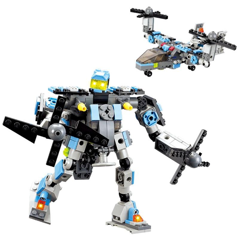 New Aircraft Robot Building Kits 245pcs/set Construction Bricks Sets Enlighten Child Educational Toys for kids gift