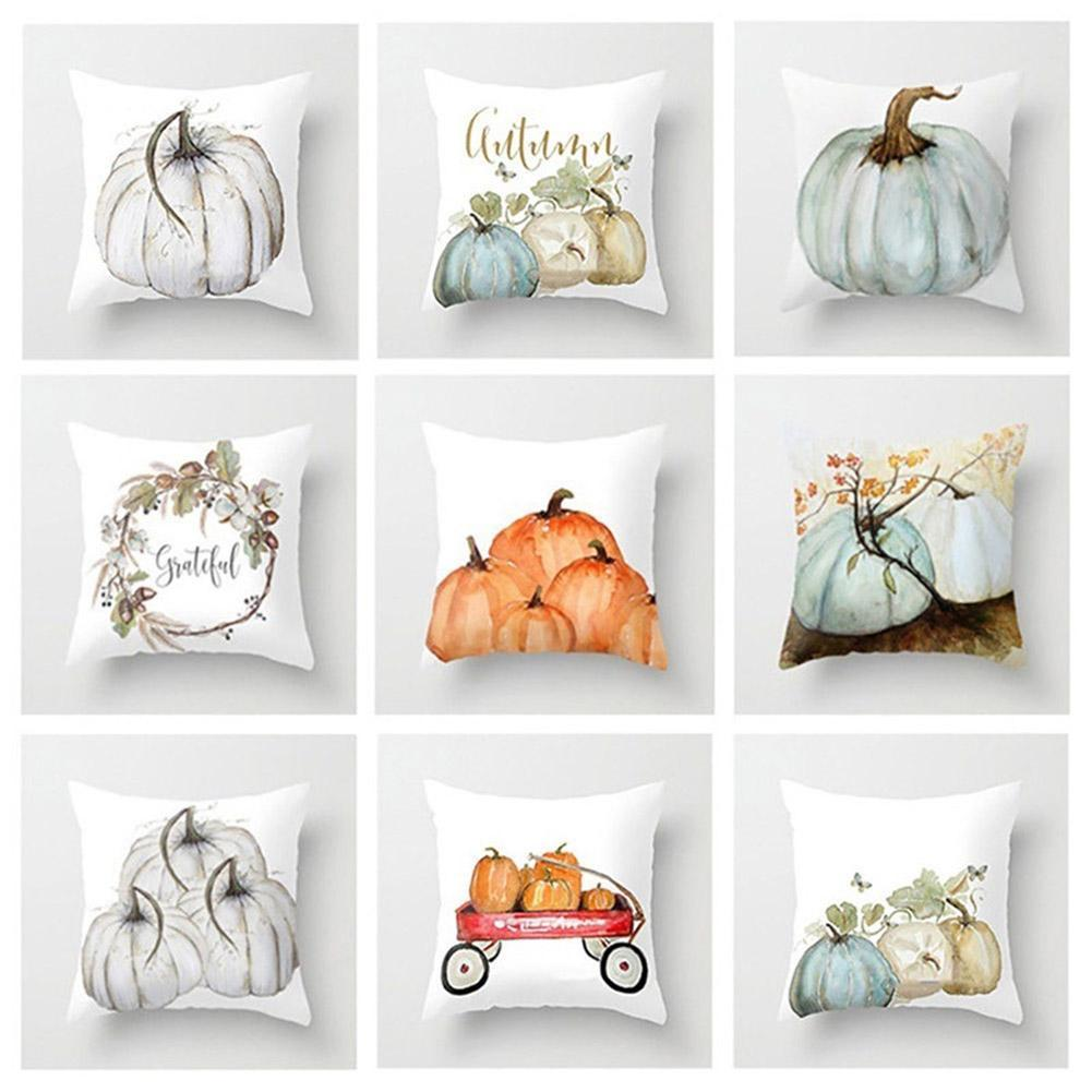 Polyester Pillow Case New Happy Fall Thanks Giving Turkey Water Color Pumpkin Print Pillow Flower Pillow Cover