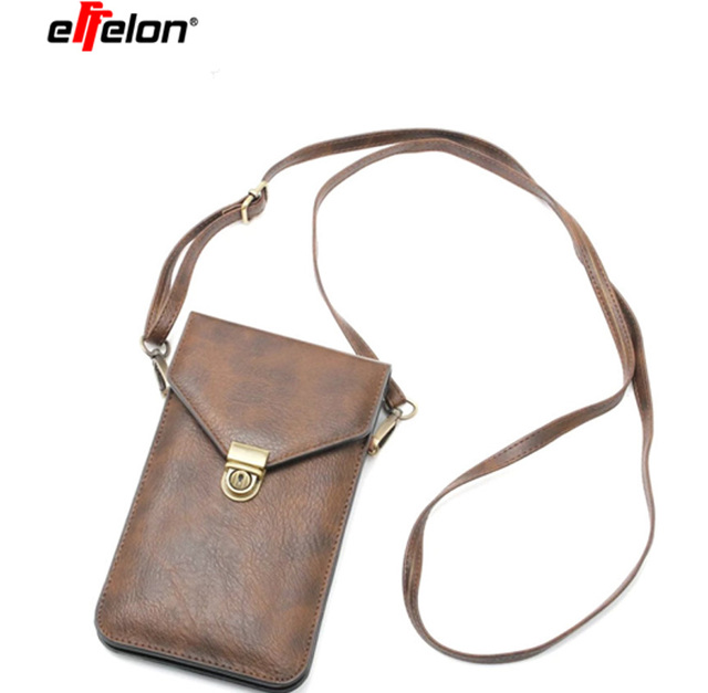 """6.3""""Universal PU Leather Phone Bag Shoulder Pocket Wallet Pouch Case Neck Strap For iPhone 8 7 6 6s plus for Samsung s8 s8 plus"""