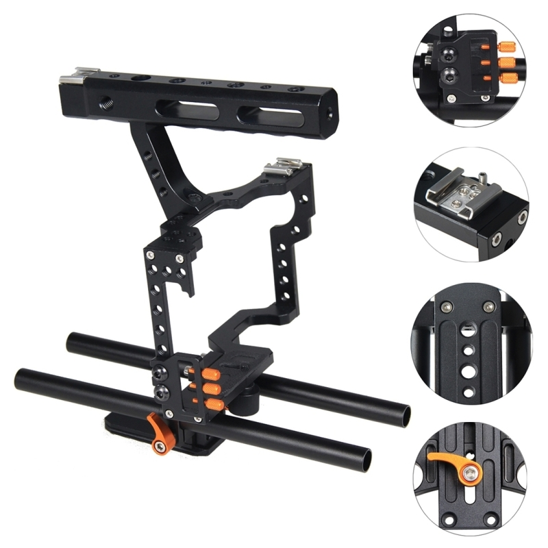 Stabilizer Steadicam Camera Cage For Sony A7 Handle 15mm Rod Rig DSLR Camera Video Top Handle Grip for Panasonic Lumix DMC-GH4 yelangu dslr rig video stabilizer mount rig dslr cage handheld stabilizer for canon nikon sony dslr camera video camcorder