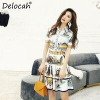 Delocah Spring Summer Women Set Runway Fashion Designer Short Sleeve Gorgeous Crystal Slim Coat+Printed Lady Skirt Ladys Suits