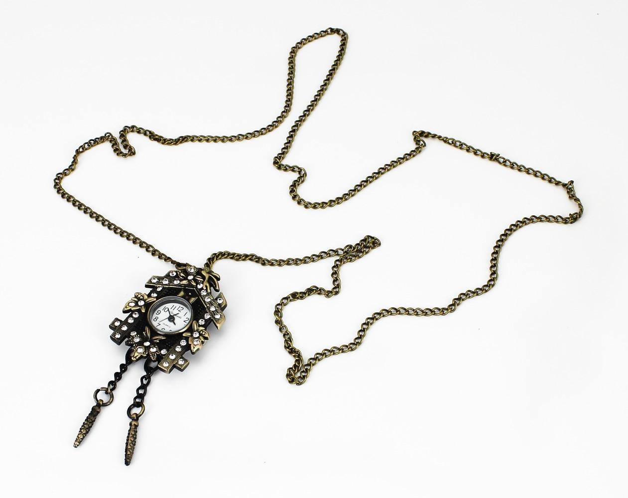 NY Fashion House Crystal Design Hänge Ficka Quartz Watch Chain - Fickur - Foto 6