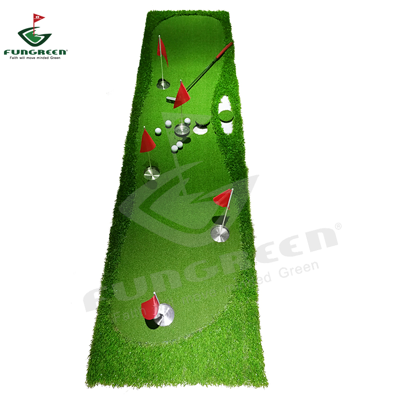 New FUNGREEN 5 Holes Golf Putting Green 75x300cm Indoor Outdoor Training Putter Mat Interesting Practice Golf Putting Pad golf putting mat mini golf putting trainer with automatic ball return indoor artificial grass carpet