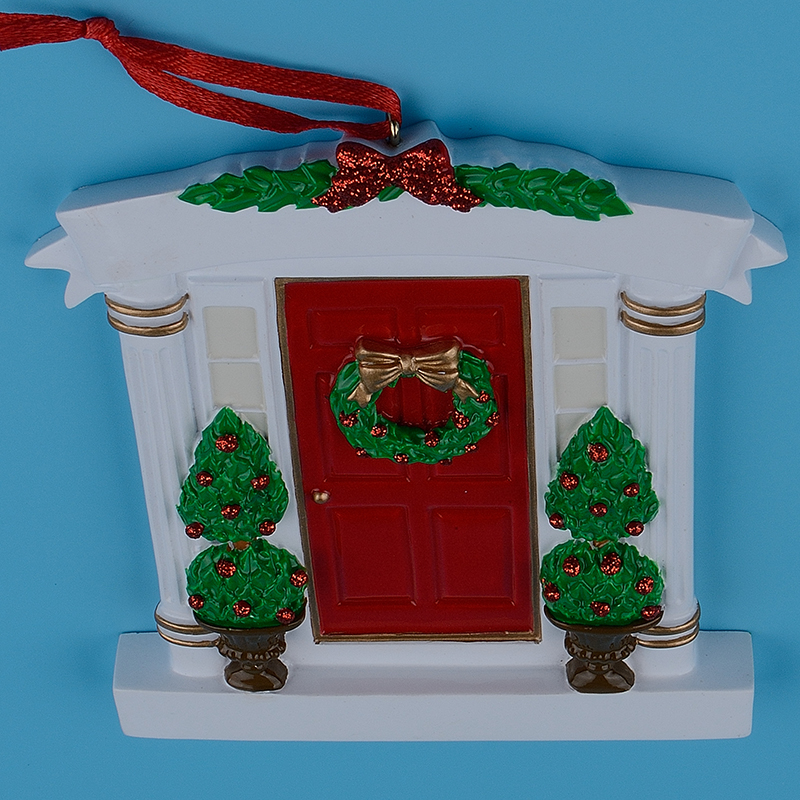 wholesale resin wreath and pine tree red door personalized christmas ornaments for new house new couple or special occasions in pendant drop ornaments - Christmas Wholesale