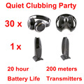 Silent Disco compete system black folding wireless headphones - Quiet Clubbing Party Bundle (30 Headphones + 1 Transmitters)