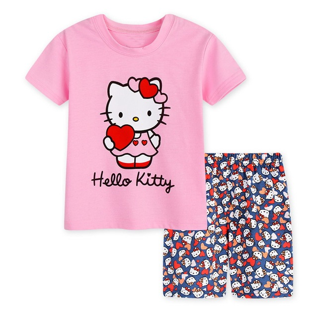ceac3dd4a594 Baby Summer Pijamas Toddler Girls Short Sleeve Cartoon Printed Pajamas Sets  Children Fashion Sleepwear Pyjamas Kids