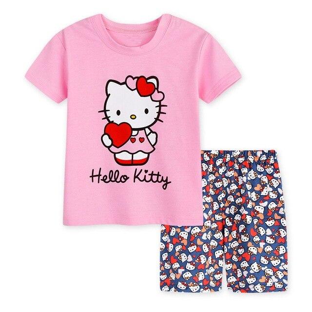 c74d62ac52 Verano del bebé Pijamas Niño Niñas manga corta dibujos animados impreso  pijamas Sets moda niños pijamas