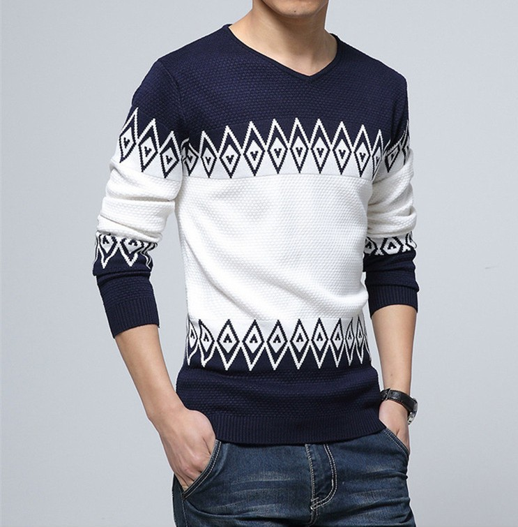 2018 Hot New Knitted Sweater Men Casual Fashion Slim Men's Sweater V-neck Long Sleeve Pullovers Brand Clothing Size XXL