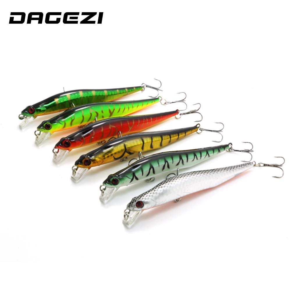 DAGEZI 6pcs/lot 14CM/11G Minnow Fishing lure Laser paint lures swimbait wobbler pesca artificial hard bait  fishing tackle wldslure 1pc 54g minnow sea fishing crankbait bass hard bait tuna lures wobbler trolling lure treble hook