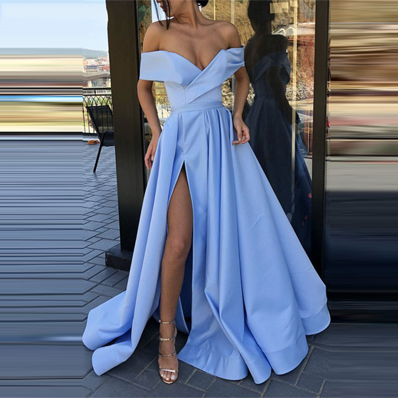 Abendkleider Elegant Off the Shoulder Long Evening Dress with Pockets Slit Prom Dress Blue Red Champagne