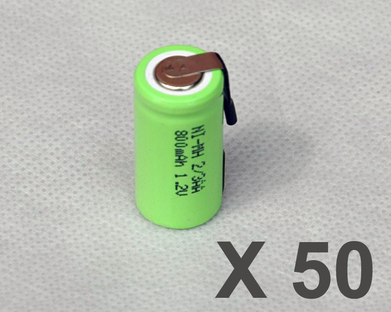 50PCS 1.2V 2/3AA rechargeable battery 800mah 2/3 AA ni-mh nimh cell with tab pins for electric shaver razor toothbrush