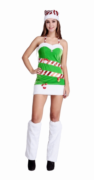 Free Shipping Cute Santa Girl Green Mini Dress Costume For Chritmas