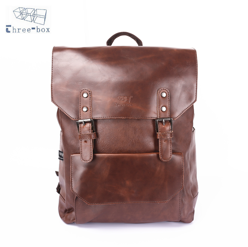 Three-Box Original Women Casual Backpack PU Leather Men Rucksack Laptop Bag For 14 Inch Laptop Travel School Backpacks 3526 men pu leather backpack crocodile pattern school backpacks for teenagers double shoulder bag black laptop rucksack travel bags