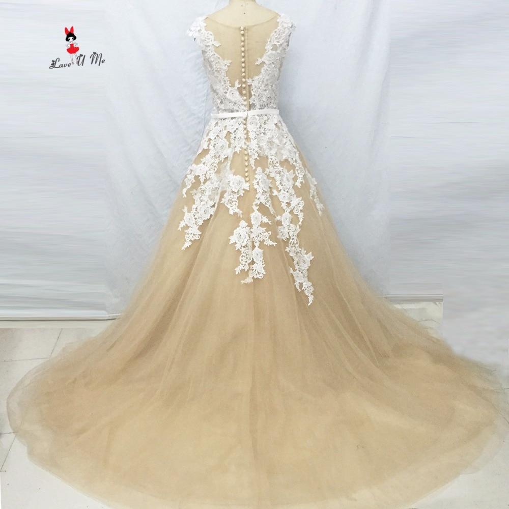 Champagne Ivory Lace Vintage Wedding Dresses Turkey Arab Wedding Gowns Vestido De Noiva Princesa Cap Sleeve Bride Dress 2017
