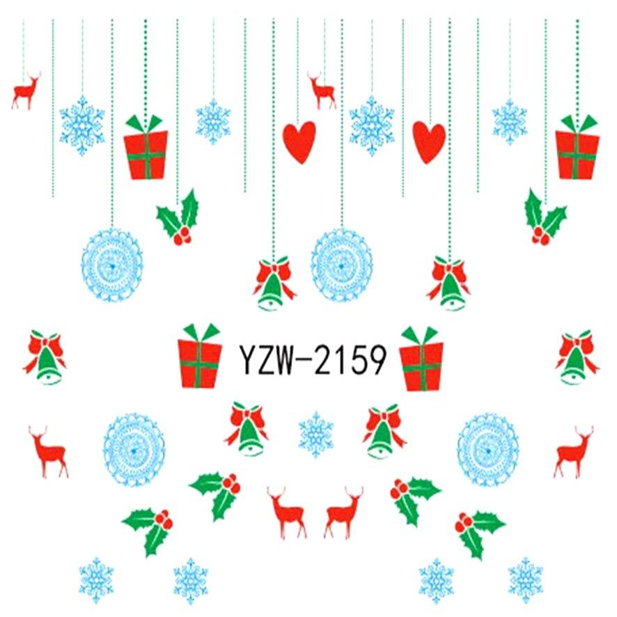 Zko 1 Sábanas Navidad diseño DIY decalques Clavos arte agua ...