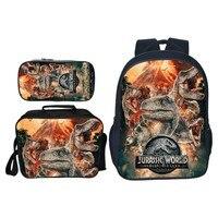 3 teile/satz Beliebte Mode Tier Druck Jurassic Welt Kinder Schule Taschen Dinosaurier Jungen Rucksack für Kinder Schul für Mädchen-in Schultaschen aus Gepäck & Taschen bei