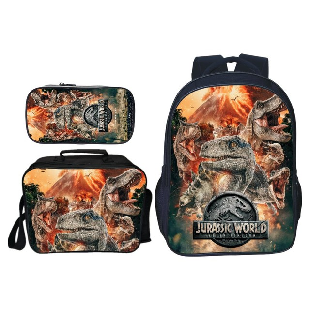 3Pcs/Set Popular Fashion Animal Printing Jurassic World Children School Bags Dinosaur Boys Backpack for Kids Schoolbag for Girls